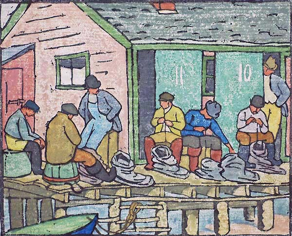 Baiting Up (Provincetown) - MAUD HUNT SQUIRE - woodcut printed in colors