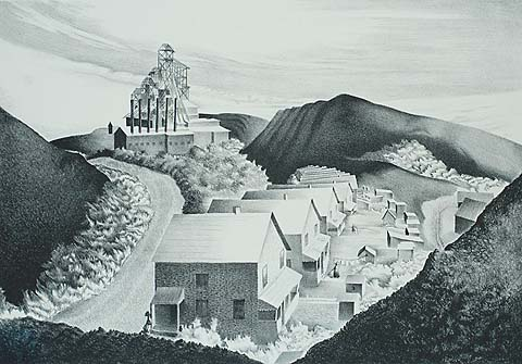 Mine Village - BERNARD STEFFEN - lithograph