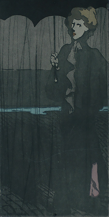 L'averse (The Downpour) - THEOPHILE ALEXANDRE STEINLEN - drypoint with aquatint printed in colors