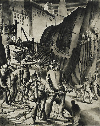 Excavation - Radio City - HARRY STERNBERG - etching and aquatint
