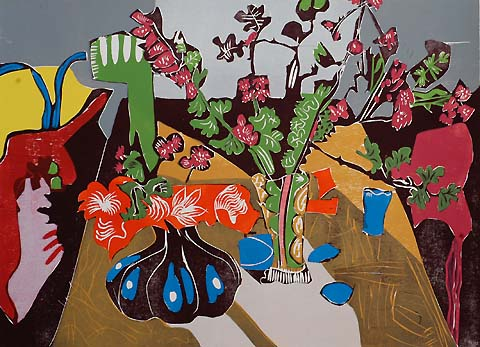 Still Life with Flowers -   - woodcut printed in colors