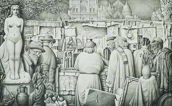 Paris Bookstalls - JAN  STRUBE - lithograph