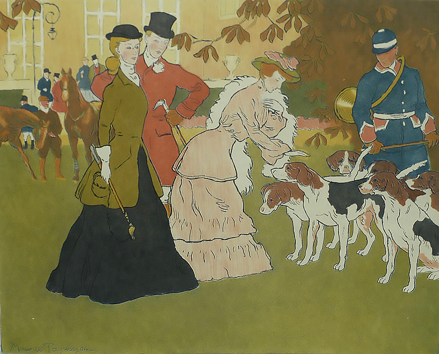 Le Départ pour la Chasse (Leaving for the Hunt) - MAURICE TAQUOY - etching and aquatint printed in colors