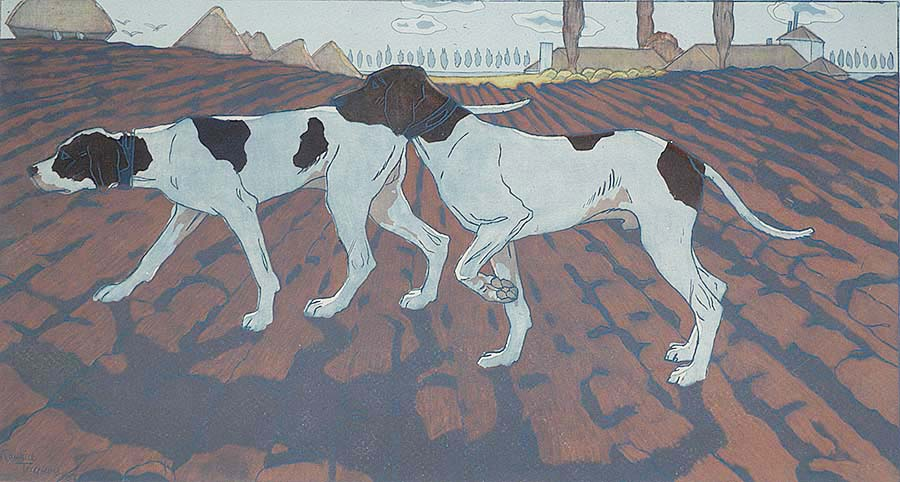 Pointer Dogs (Chiens d'ârret), or, Two Pointers (Deux Pointers) - MAURICE TAQUOY - etching and aquatint printed in colors