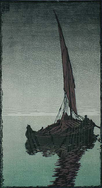 Evening (Abend) - CARL THIEMANN - woodcut printed in colors