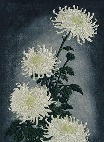 Chrysanthemums - CARL THIEMANN - woodcut printed in colors