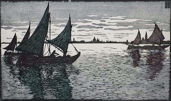 Evening in Venice (Abend vor Venedig) - CARL THIEMANN - woodcut printed in colors