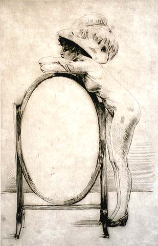 Woman Leaning on a Mirror - HENRI THOMAS - drypoint