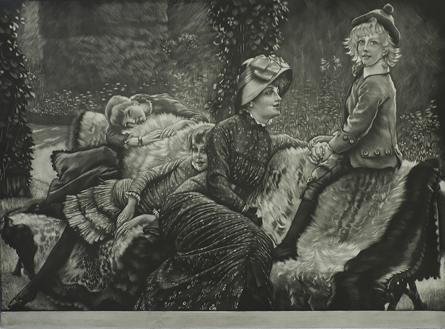 The Garden Bench (Le Banc de Jardin) - JAMES TISSOT - mezzotint