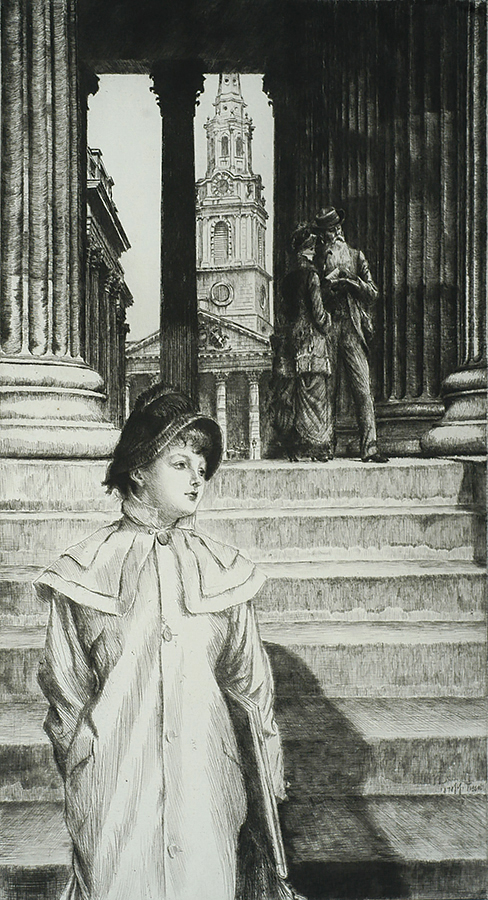 The Portico of the National Gallery - JAMES TISSOT - etching and drypoint
