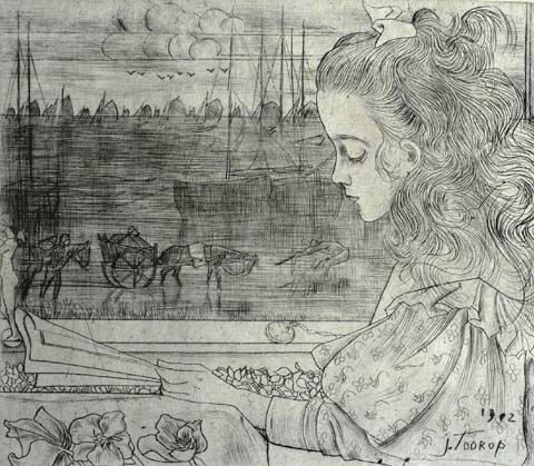 The Artist's Daughter (Charley) by the Window - JAN TOOROP - drypoint