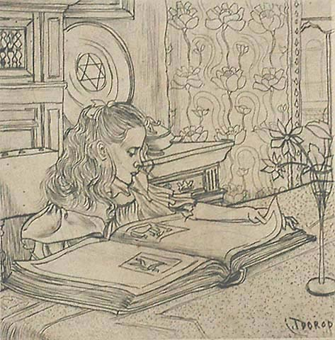 Charley Plaatjes Kijkend (Charley Looking at Book Illustrations) - JAN TOOROP - drypoint
