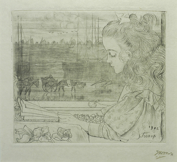 Charley Voor Het Raam (Charley before the Window) - JAN TOOROP - drypoint