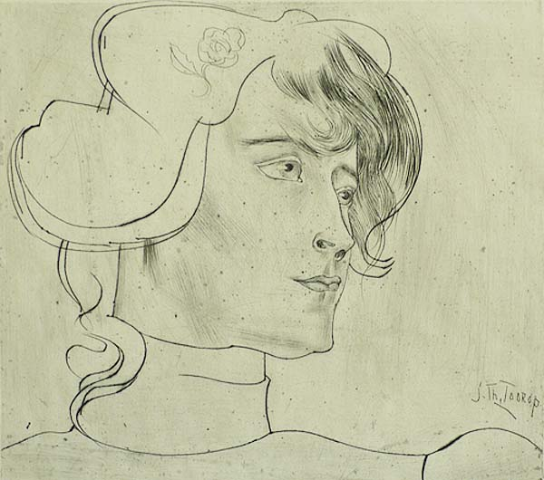 Woman's Head (Vrouwekop) - JAN TOOROP - drypoint on zinc