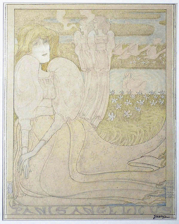 Panis Angelicus - JAN TOOROP - lithograph printed in olive green with added pencil work, watercolor and white gouache,  all by the artist