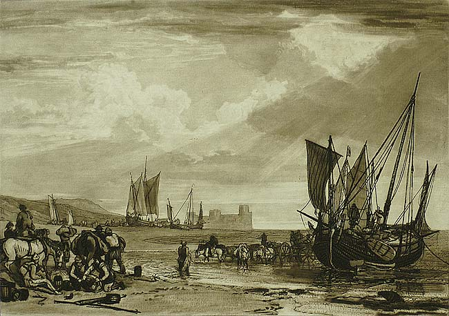 Scene on the French Coast - JOSEPH MALLORD WILLIAM TURNER - etching with mezzotint