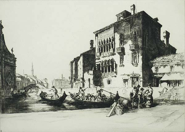 Venetian Barges - SIDNEY TUSHINGHAM - drypoint