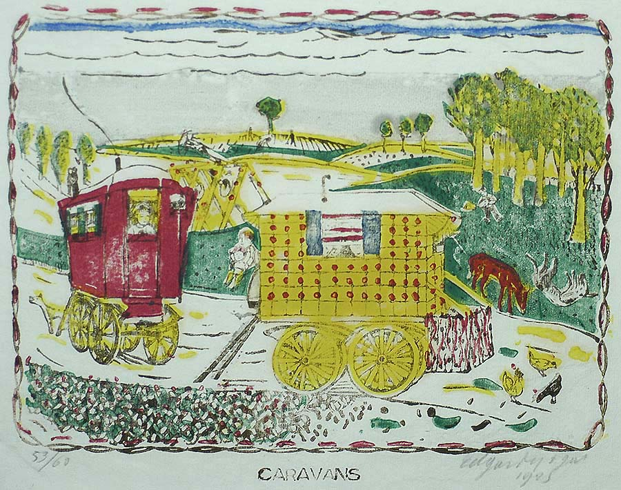 Caravans - EDGARD TYTGAT - woodcut and linoleum cut printed in colors