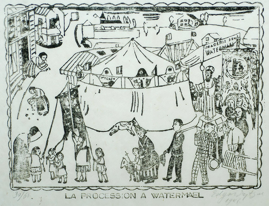 La Procession à Watermael - EDGARD TYTGAT - woodcut
