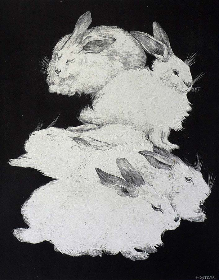 Five Angora Rabbits - THEO VAN HOYTEMA - lithograph with embossing printed on chine appliqué