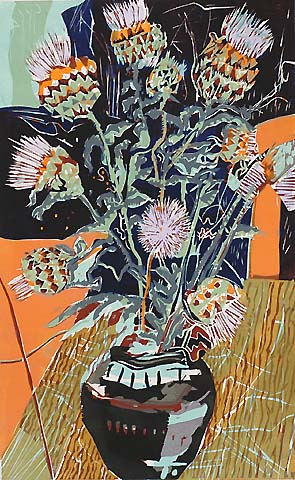 Vase with Flowers -   - woodcut printed in colors
