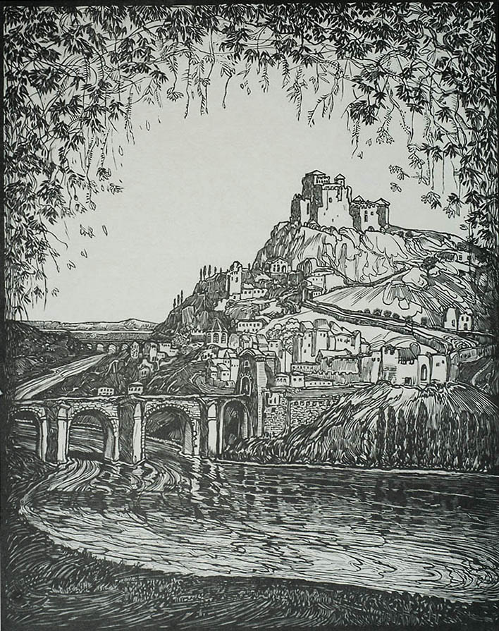 Castle on a Mountain - JACOBUS G. VELDHEER - woodcut