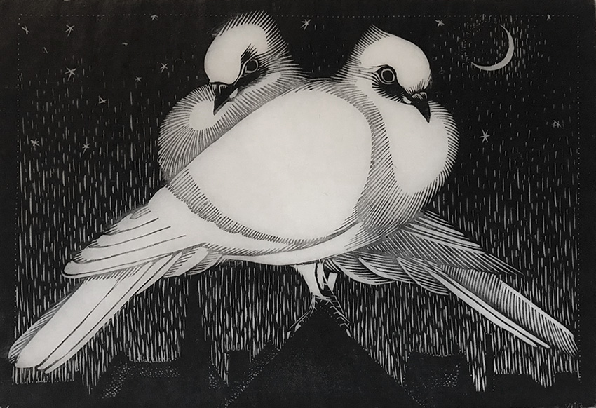 Two Birds in the Moonlight - JAN VERINGA - woodcut