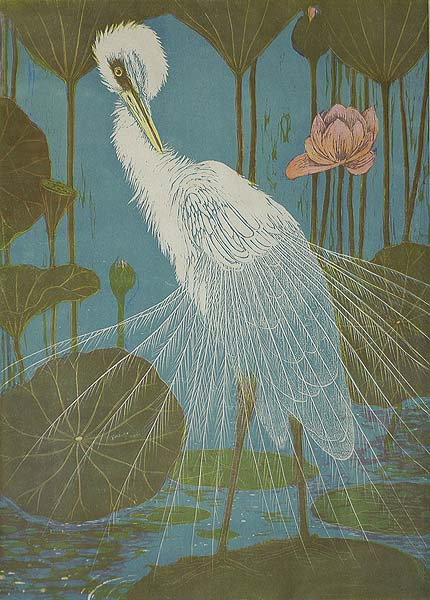 Silver Heron with Lotus (Zilverreiger met Lotus) - HENRI VERSTIJNEN - woodcut printed in colors