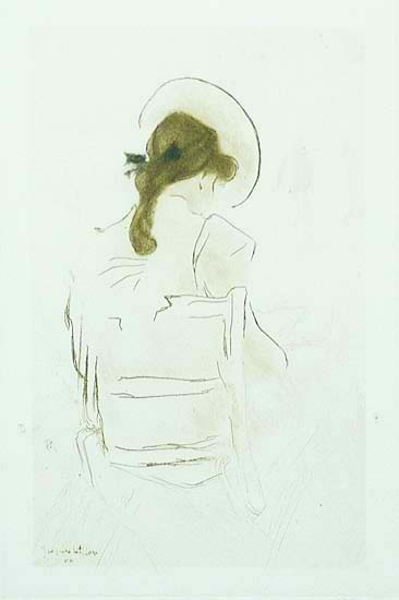 Jeune Fille Vue de Dos (Young Woman Seen from Behind) - JACQUES VILLON - etching and aquatint printed in colors