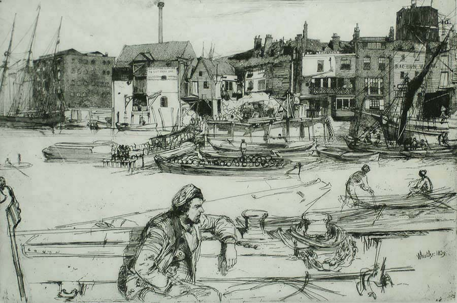 Black Lion Wharf - JAMES A. MCNEILL WHISTLER - etching
