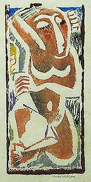 Nude With Upraised Arm - MAX WEBER - woodcut printed in colors