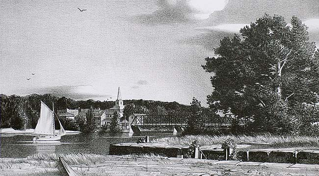 River Scene - STOW WENGENROTH - lithograph