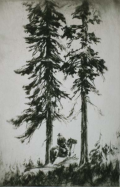 Twin Pines - LEVON WEST - drypoint with etching