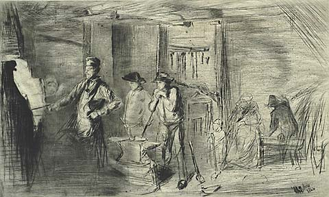 The Forge - JAMES A. MCNEILL WHISTLER - drypoint