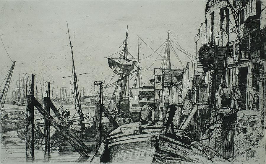 Limehouse - JAMES A. MCNEILL WHISTLER - etching and drypoint