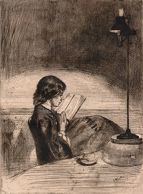 Reading by Lamplight - JAMES A. MCNEILL WHISTLER - etching and drypoint