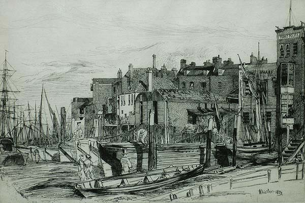 Thames Police - JAMES A. MCNEILL WHISTLER - etching and drypoint