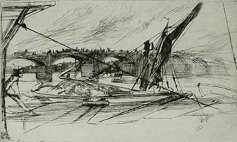 Vauxhall Bridge - JAMES A. MCNEILL WHISTLER - etching