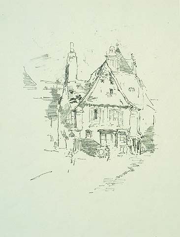Gabled Roofs (Vitre) - JAMES A. MCNEILL WHISTLER - lithograph