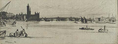 Old Westminster Bridge - JAMES A. MCNEILL WHISTLER - etching