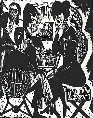 The Chess Players - JAN WIEGERS - woodcut