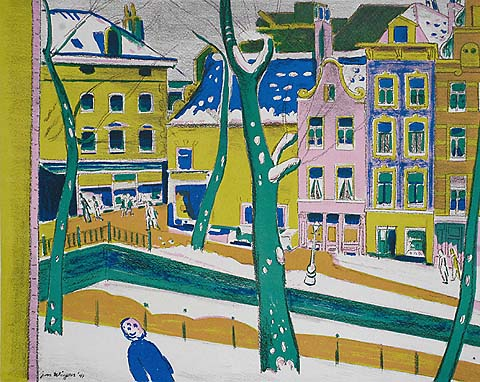 Amsterdam Street Scene with Snow - JAN WIEGERS - lithograph printed in colors