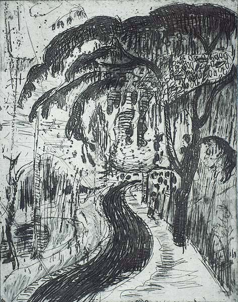 Street Scene with Large Tree - JAN WIEGERS - etching