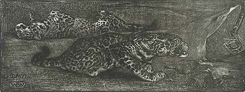 Two Leopards and a Snake - BERNARD WIERINK - lithograph