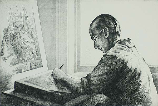 Portrait  of Stow Wengenroth - KEITH SHAW WILLIAMS - etching
