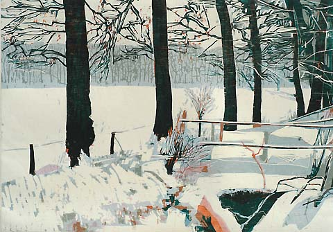 Winter Scene -   - woodcut printed in colors