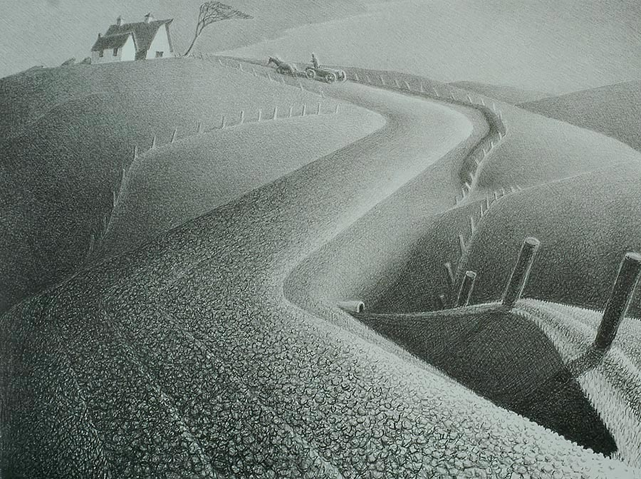 March - GRANT WOOD - lithograph