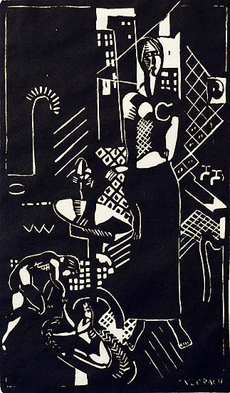 Mother, Child and Dog  (a.k.a. Interior of Tenth Street) - MARGUERITE ZORACH - linoleum cut
