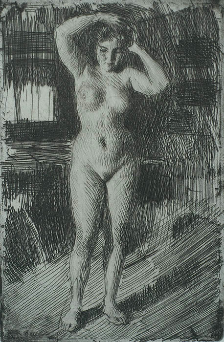 Anna Doing her Hair (Anna Kammar Sig) - ANDERS ZORN - etching