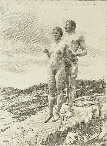 The Two - ANDERS ZORN - etching